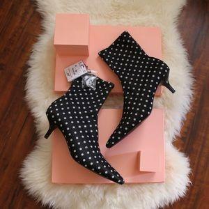 ZARA Polka dot stretch kitten heel ankle boot 8.5
